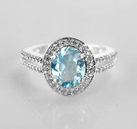 925 Sterling Silver Ring Natural Blue Topaz Dual-Shank Gemstone Sz 4-11