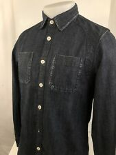 SCOTCH & SODA - Amsterdam Blauw Mens S/M Black Denim Spade Snap Button Shirt