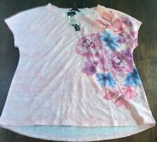 NWT Women's NICOLE MILLER NEW YORK Pink Floral Blooms Tee Size Large L