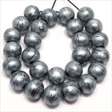 Lot de 40 Perles en bois 10mm Métallique argent + Cordon offert