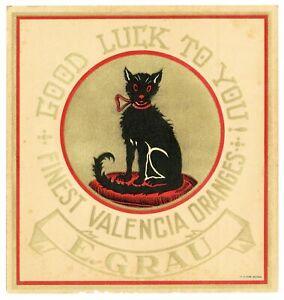 Antique, Unused GOOD LUCK, Black Cat, Orange Fruit Crate Label, Valencia