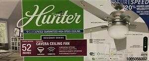 """Hunter 52-inch """"Cavera"""" Ceiling Fan with Remote - Matte Nickel - Smart Connected"""