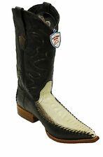 Men Genuine Ostrich leg Leather Snip Toe Cow boy Boots Wild West Boots