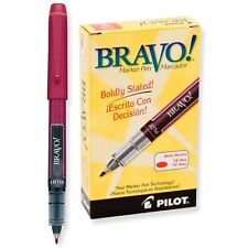 Pilot BRV Bravo Marker Pen, Bold, Red (PIL 11036) - 12/pk