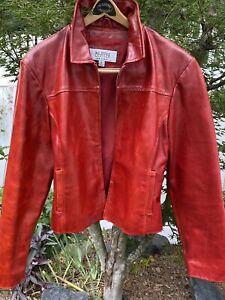 Vintage Wilsons Maxima  Red Leather  Retro - Moto Jacket Full Zip ,  Women's Lg