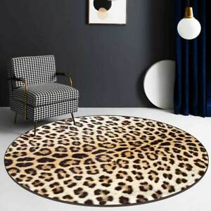 Round Leopard Printed Carpet Shoebox Rugs Decor Bedside Area Doormat Chair Mat
