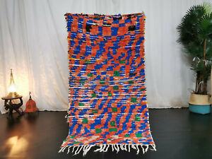 "Handmade Moroccan Vintage Carpet 3'x5'4"" Checkered Red Blue Berber Wool Rug"