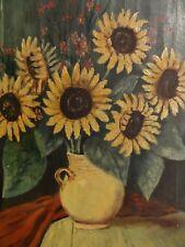 F. SCHEFFLER - altes Ölgemälde: Sunflowers / Sonnenblumen, Tisch,  Decke
