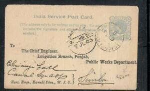 INDIA COVER (P0806B) 1903 1/4A QV PSC METER GAUGE ABDULAPUR TO SIMLA