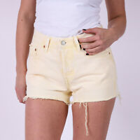 Levi's 501 Original Fit Gelb Denim Damen Shorts Größe DE 34 US W27