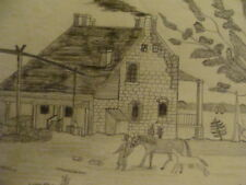 original drawing: 1800's  OLD FARM HOUSE STATEN ISLAND - New York, WOW