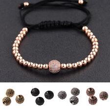 Fashion Men Women Clear Plated Micro Pave Balls Beads Braiding Macrame Bracelets