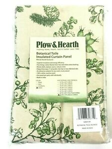 """Plow & Hearth Botanical Toile Insulated Curtain Panel 42"""" X 14"""" Green 1 Panel"""