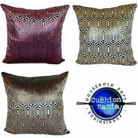 LARGE SET OF 4 VELVET SCATTER CUSHIONS + COVERS IN 3  COLOURS MATRIX DESIGN