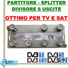 PARTITORE / DIVISORE / SPLITTER 6 OUT PER TV - SAT - SCR CON CONNET. F 410053