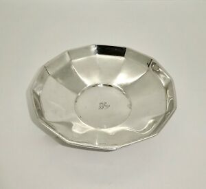 """TIFFANY ART DECO c1923 12 SIDED STERLING SILVER CANDY BOWL,5 3/8"""",NICE SHAPE,136"""
