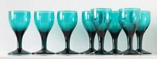 8x antique 18th C White Wine Glass, ca.1780 Holland, blue turquoise crystal