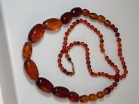 """Vintage Golden Brown Amber Graduated Knotted Bead 32"""" Necklace 10K Gold 10c98"""