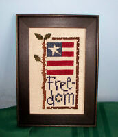BENT CREEK FREEDOM FLAG COMPLETED CROSS STITCH PICTURE FRAMED PATRIOTIC