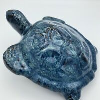Vintage Sea Turtle Drip Glazed Pottery Figurine Unsigned