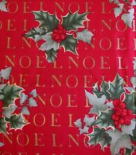 BTY 1998 Alexander Henry NOEL Fabric Cotton CHRISTMAS HOLLY Sew Craft HOLIDAY