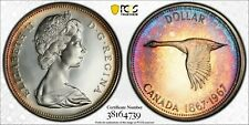 1967 CANADA GOOSE SILVER DOLLAR PCGS PL65CAM NEON RAINBOW COLOR UNC TONED (DR)