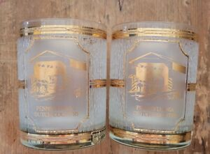 Pair Culver Souvenir Pennsylvania Dutch Country Double Old Fashioned Glasses 22K