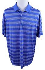 NEW Nike Golf Dri-Fit Tech Core Stripe Polo Shirt MENS XL Blue Polyester