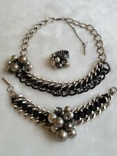 NWOT KENNETH COLE NY Downtown Pearl Rhinestone Silver Necklace Bracelet Ring Set