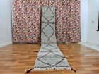 Moroccan Berber Vintage Handmade Kilim Hanbal Gray Rug FlatWoven Wool 2ft2x12ft9