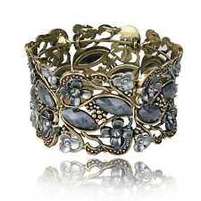 Oval Cameo Resin Hollow Flower Diamante Gem Statement Flossy Bangle Bracelet