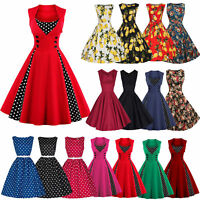 Women 50s 60s Vintage Pinup Swing Evening Party Rockabilly Casual Work Dress