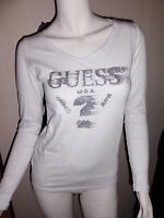 T Shirt Guess USA femme manche longue XS S M L XL , blanc ou noir W24I09