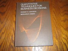 Quantitative Techniques for Business Decisions by Johnson & Siskin 1976 Hardcvr