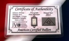 (ACB)  5GRAIN SOLID Platinum BULLION MINTED BAR 99.9  Pure PT With COA !