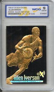 SUPERB  ALLEN IVERSON  ROOKIE 23K GOLD  BAR TABLET CARD  rare