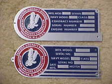 Eastern Aircraft Bt-13 Tbm & other airplanes Data Plate Ww2 Acid Etched Aluminum