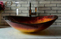 Victory Hand Paint Fire Color Tempered Glass Basin Sink vessel W/ Pop Up Drain