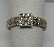 Roberto Coin Diamond 18K White Gold Woven Ring size 5