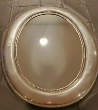 Oval Pewter Wall Mirror with Bead Detail