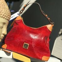 Dooney & Bourke Red Snake Skin Erica Women Bags Hobos NWT