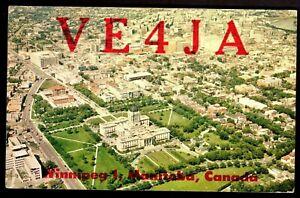 "QSL QSO RADIO CARD ""Aerial View/Parliament Buildings,Winnipeg Manitoba"", (Q4063)"