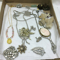 Vintage Jewelry Lot Rhinestones Necklace Earrings Brooches