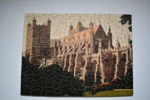 VINTAGE WOODEN JIGSAW EXETER CATHEDRAL & MAP OF GREAT WESTERN RAILWAY ON REVERSE