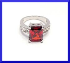 New Red Garnet 925 Silver Solitaire Ring Size 7 FREE SHIPPING # 174