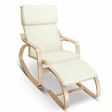 100 Cotton Soft Birch Plywood Fabric Lounge Rocking Chair Foot Stool Beige