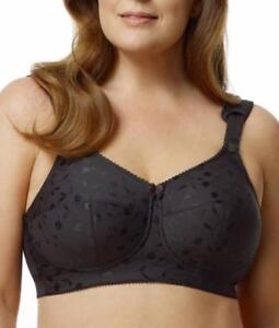 ELILA Jacquard Soft Cup Bra with Cushioned Straps Black Size 38 G Style #1305 J