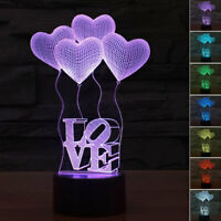 3D LED illusion USB 7 Color Table Kid Night Light Lamp Bedroom Gift for Child