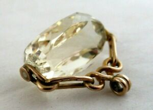 Citrine SPINNER FOB  - Mounted in 9ct.GOLD - marked 9ct.