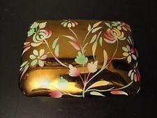 WADE England Gold Metallic Floral Trinket Dish Fine China Jewelry Pin Box